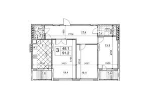 ЖК Обуховский ключ: планировка 3-комнатной квартиры 91.76 м²
