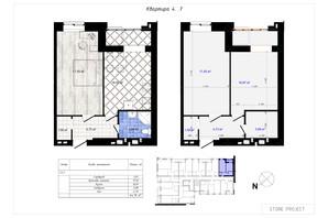 ЖК Одеська Чайка: планування 1-кімнатної квартири 44.72 м²