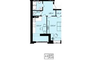ЖК Одеська Чайка: планування 1-кімнатної квартири 39.49 м²