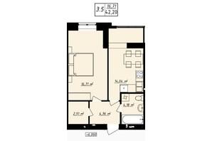 ЖК Одеська Чайка: планування 1-кімнатної квартири 42.2 м²