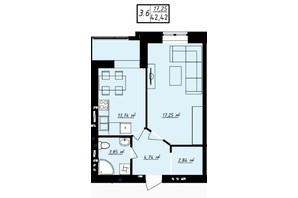 ЖК Одеська Чайка: планування 1-кімнатної квартири 42.42 м²