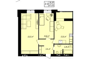 ЖК Одеська Чайка: планування 2-кімнатної квартири 67.03 м²