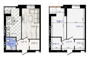 ЖК Одеська Чайка: планування 1-кімнатної квартири 42.39 м²