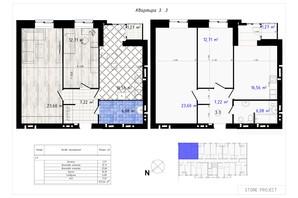 ЖК Одеська Чайка: планування 2-кімнатної квартири 67.44 м²