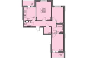 ЖК Одеські традиції: планування 3-кімнатної квартири 74.16 м²