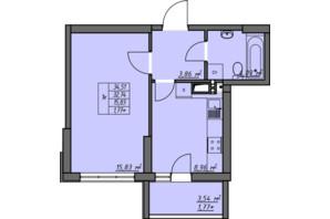 ЖК Одеські традиції: планування 1-кімнатної квартири 34.51 м²