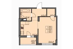 ЖК Одеські традиції: планування 1-кімнатної квартири 36.56 м²
