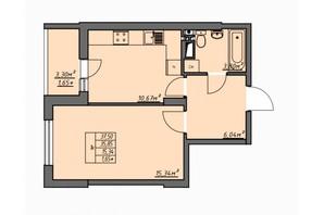 ЖК Одеські традиції: планування 1-кімнатної квартири 37.5 м²