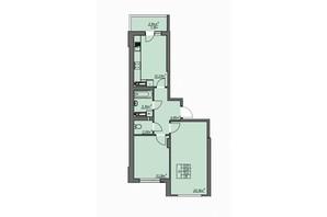 ЖК Одеські традиції: планування 2-кімнатної квартири 57.07 м²
