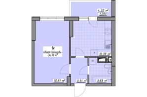 ЖК Одеські традиції: планування 1-кімнатної квартири 34.7 м²
