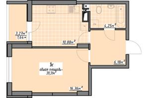ЖК Одеські традиції: планування 1-кімнатної квартири 39.31 м²
