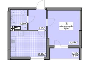 ЖК Одеські традиції: планування 1-кімнатної квартири 39.11 м²