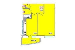 ЖК Одеський Двір: планування 1-кімнатної квартири 46.76 м²