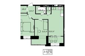 ЖК Одесская Чайка: планировка 2-комнатной квартиры 55.79 м²