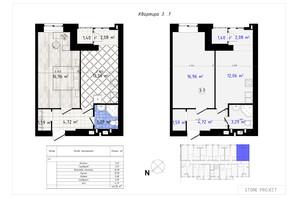 ЖК Одесская Чайка: планировка 1-комнатной квартиры 42.1 м²