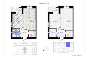 ЖК Одесская Чайка: планировка 1-комнатной квартиры 42.49 м²