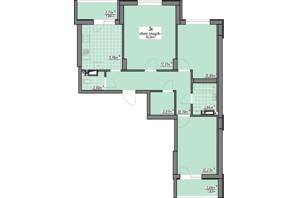 ЖК Одесские традиции: планировка 3-комнатной квартиры 74.04 м²