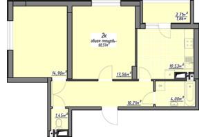 ЖК Одесские традиции: планировка 2-комнатной квартиры 60.51 м²