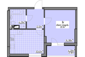 ЖК Одесские традиции: планировка 1-комнатной квартиры 39.11 м²