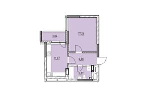 ЖК Ok`Land: планировка 1-комнатной квартиры 44.22 м²