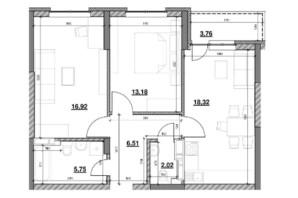 ЖК Ok`Land (Окленд): планировка 2-комнатной квартиры 66.46 м²