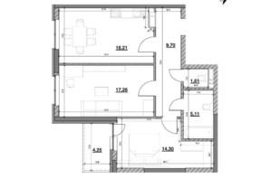 ЖК Ok`Land (Окленд): планировка 2-комнатной квартиры 70.44 м²
