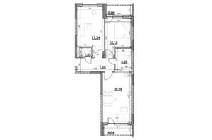 ЖК Ok`Land (Окленд): планировка 2-комнатной квартиры 71.24 м²