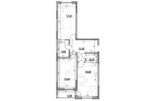 ЖК Ok`Land (Окленд): планування 2-кімнатної квартири 73.98 м²