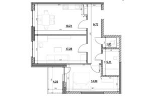 ЖК Ok`Land (Окленд): планування 2-кімнатної квартири 71.37 м²