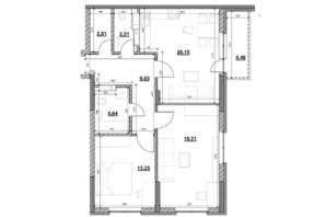 ЖК Ok`Land (Окленд): планування 2-кімнатної квартири 76.68 м²