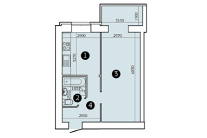ЖК Олександрівський 2: планування 1-кімнатної квартири 45.12 м²