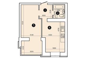 ЖК Олександрівський 2: планування 1-кімнатної квартири 47.53 м²