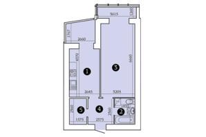 ЖК Олександрівський 2: планування 1-кімнатної квартири 57.68 м²