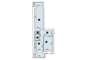 ЖК Олександрівський 2: планування 2-кімнатної квартири 73.97 м²