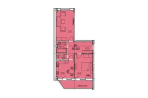 ЖК Олексіївський: планування 2-кімнатної квартири 60.6 м²