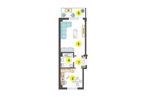 ЖК Олексіївський: планування 1-кімнатної квартири 41.6 м²