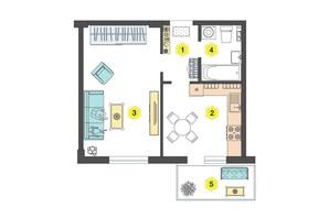 ЖК Олексіївський: планування 1-кімнатної квартири 38 м²