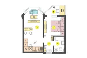 ЖК Олексіївський: планування 1-кімнатної квартири 36.9 м²