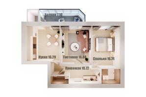 ЖК Олімп: планування 2-кімнатної квартири 76.8 м²