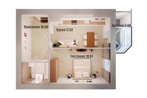 ЖК Олімп: планування 1-кімнатної квартири 54.16 м²