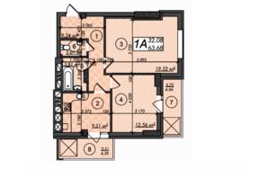 ЖК Олімп: планування 2-кімнатної квартири 63.68 м²