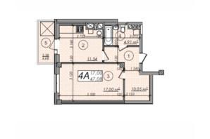 ЖК Олімп: планування 1-кімнатної квартири 47.08 м²