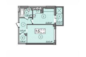ЖК Олімп: планування 1-кімнатної квартири 46.49 м²