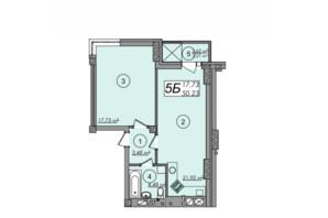 ЖК Олімп: планування 1-кімнатної квартири 50.23 м²