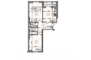 ЖК Олімп: планування 2-кімнатної квартири 59.02 м²