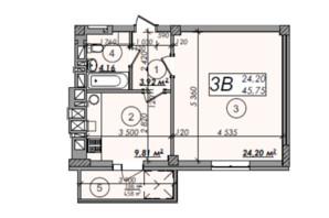 ЖК Олімп: планування 1-кімнатної квартири 45.75 м²
