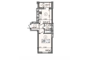 ЖК Олімп: планування 1-кімнатної квартири 41.86 м²