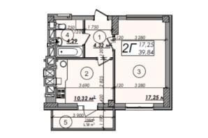 ЖК Олімп: планування 1-кімнатної квартири 39.84 м²