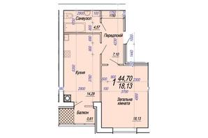ЖК Олімп: планування 1-кімнатної квартири 44.7 м²