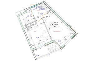 ЖК Олімпійський: планування 1-кімнатної квартири 42.13 м²
